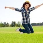 Woman in jump — Stock Photo