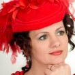 Woman is in red hat — Stock Photo #6477448