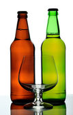 Two bottles of beer and glass, isolated — Stock Photo