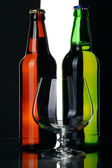 Bottles of beer from green and brown glass, isolated. — Stock Photo