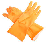 Two orange rubber gloves — Stockfoto