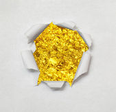 Ripped paper background with gold textured. — Stock Photo