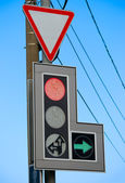 Traffic sign and traffic light — Stock Photo