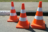 Three orange cone sign — Stock Photo