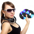 Girl holding three CD — Stock Photo #5965177