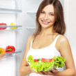 Young woman with healthy salad. — Stock Photo