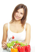 Girl with vegetable salad — Stock Photo