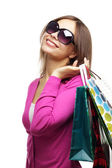 Stylish Girl with shopping bags — Stock Photo