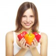 Girl with bell peppers — Stock Photo #6018510