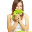 Girl with vegetable salad — Stock Photo #6022831