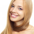 Pretty girl with long hair on white — Stock Photo