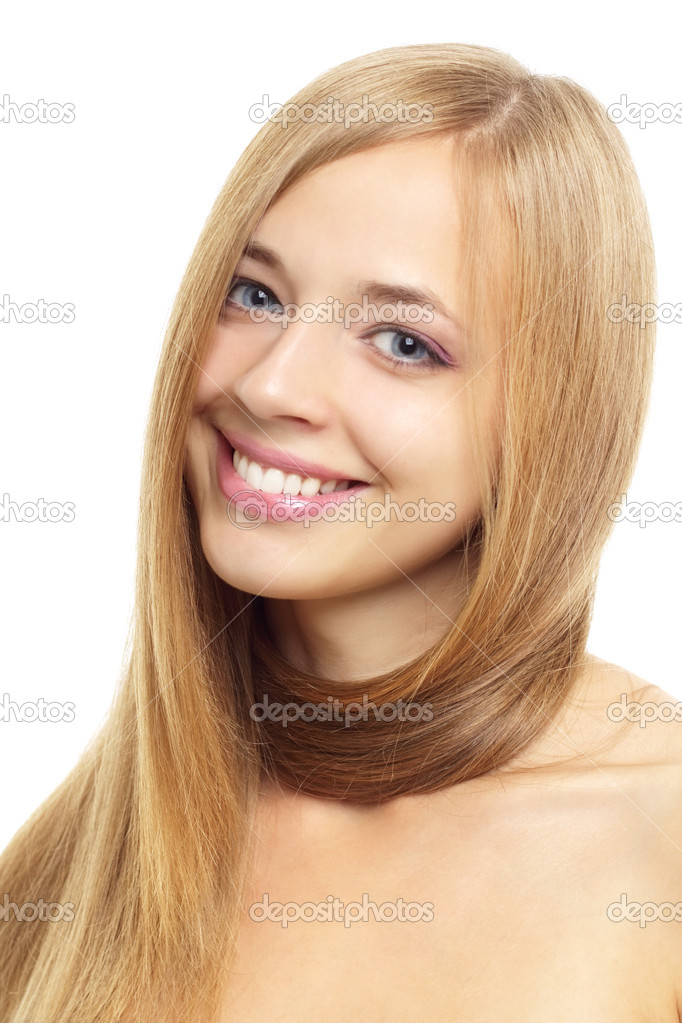 Pretty girl with long hair isolated on white — Stock Photo #6442528
