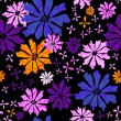 Floral seamless black pattern — Stock Vector