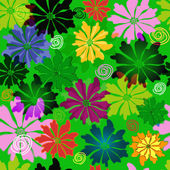 Green floral seamless pattern — Stock Vector