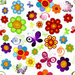 Rainbow floral seamless pattern — Stock Vector