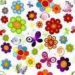 Rainbow floral seamless pattern — Stock Vector #5436486