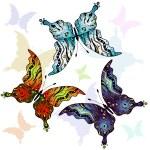 Set clorful butterflies — Stock Vector