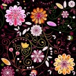 Seamless dark floral pattern — Stock Vector