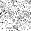 White and black seamless floral pattern - Stock Vector