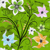 Seamless green floral wallpaper — Stockvektor