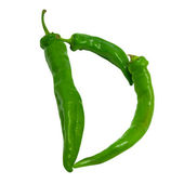 Letter D composed of green peppers — Stock Photo