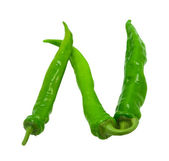 Letter N composed of green peppers — Stock Photo