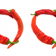 FOOD text composed of chili peppers — Stock Photo