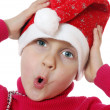 Cute surprised Santa girl — Stock Photo