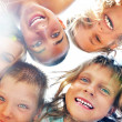 Happy smiling children friends outdoor portrait — Stock Photo