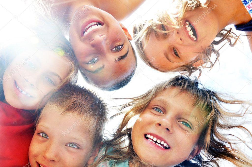 Happy smiling children frinds outdoor group portrait  Stock Photo #6449686