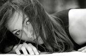 Aggressive female portrait. — Stock Photo