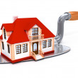 Stock Photo: New built private house on darby tool