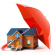 Red umbrella protecting house from rain - Stockfoto