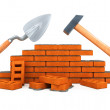 Darby and hammer building tool house construction isolated - Stock Photo