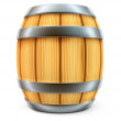Stock Photo: Wooden barrel for wine and beer storage isolated
