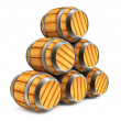 Wooden barrels for wine and beer storage isolated — Stock Photo