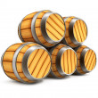 Wooden barrels for wine and beer storage isolated - Stock Photo