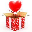 Big heart flying out from box - Stock Photo