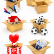 New house, heart, window, books and balls in box — Stock Photo #5783691