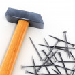 Hammer tool and nails — Stock Photo