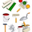Stock Photo: Collection of isolated working tools for house repairing