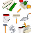 Collection of isolated working tools for house repairing - Stock Photo
