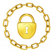 Gold lock with chain isolated security illustration — Stock Photo