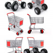 Shopping cart for food store - Stock Photo