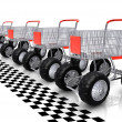 Shopping carts row waiting for start - Stock Photo