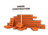 Brick wall under construction — Stock Photo
