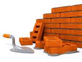Bakstenen muurbouw van nieuwe huis — Stockfoto
