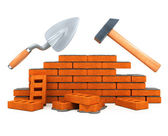 Darby and hammer building tool house construction isolated — Stock Photo