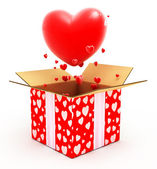 Big heart flying out from box — Stock Photo