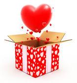 Coração grande, voando para fora da caixa — Foto Stock